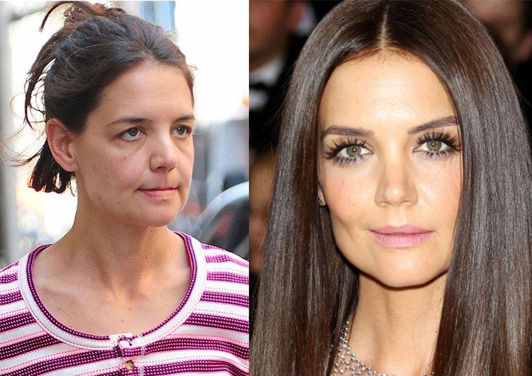 без макияжа фото до и после звезды совместить