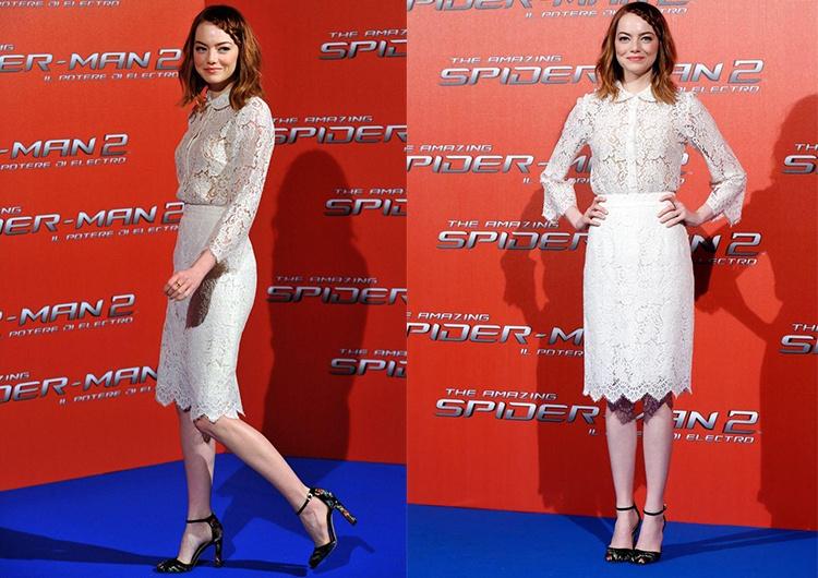 В рамках промо-тура фильма «Новый Человек-паук  Высокое напряжение» в Риме  актриса появилась на фотоколле в изящном кружевном костюме от Dolce    Gabbana. cd0e94b56aa29