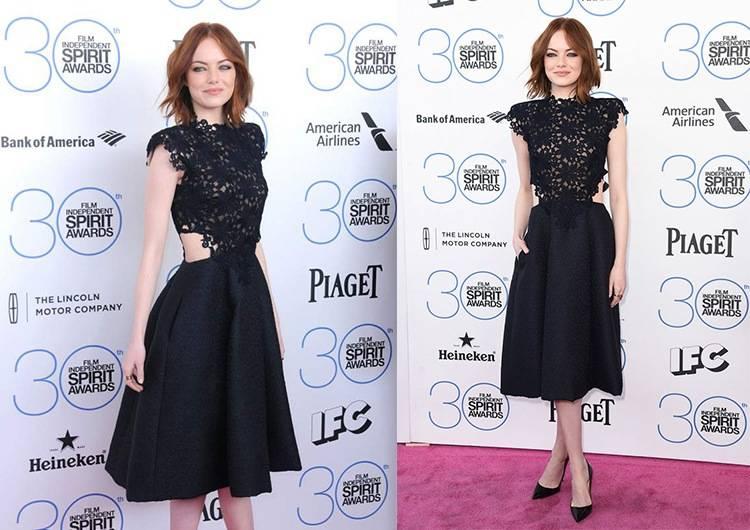 30-я ежегодная церемония Spirit Awards – Стоун в кружевном платье от  Monique Lhuillier из коллекции осень-зима 2015-2016 выглядит элегантно и  изящно. 43d5f268b3be8